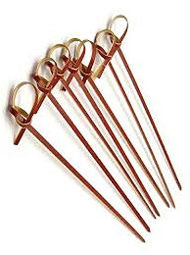 (prexware braun Bambus Knoten Spieße, 10,2cm Knoten Spieße, braun Bambus Spieße Cocktail Picks. 100Zählen.)