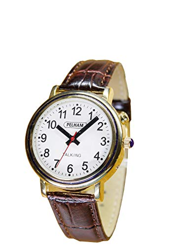 Pelham sprechende Damenuhr, goldfarbenes Metallgehäuse, braunes Kroko-Leder-Effekt-Armband