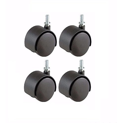 set-of-4-twin-wheel-casters-50mm-hooded-wheel-flat-black-with-10mm-threaded-stem-by-pert
