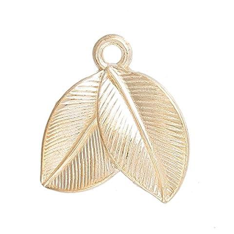 Angel Malone ® 3 x 15mm CHAMPAGNE GOLD 3D Leaf Charm Pendants Jewellery Making Findings