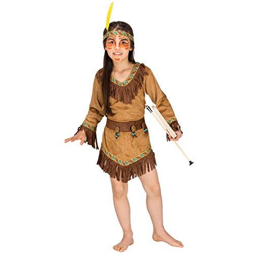 Mädchen Kostüm Indianerin | Wunderschönes Indianerkleid inkl. Gürtel und stylischem Haarband (5-7 Jahre | Nr. (Mit Aliens Kostüm Baby)