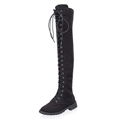 Casual Flache Ferse (Damen Schuhe DELLIN Mode Sommer Frauen Kreuz-gebunden Plateauschuhe Hohe Stiefel Overknee Stiefel Flache Ferse Stiefel Neue Produkte (35, Schwarz))