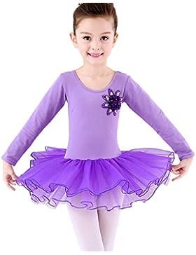 Happy Cherry Mädchen Ballettkleid mit Geschenkter Strumfhose, Balletttrikot mit Chiffon Röckchen Ballett Tütü...