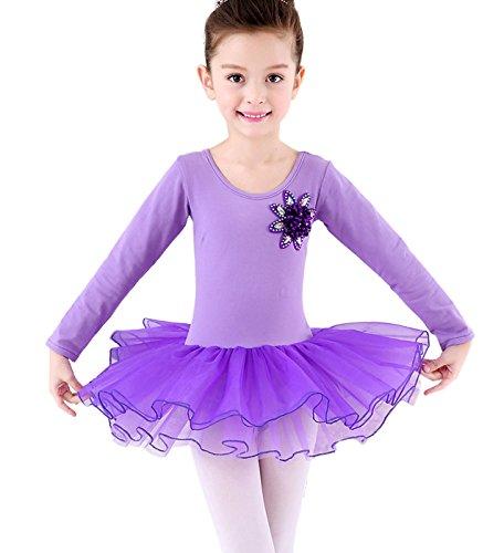 n Ballettkleid mit Geschenkter Strumfhose, Balletttrikot mit Chiffon Röckchen Ballett Tütü Tutu Ballettanzug Größe XXL für Körpergröße ca.150cm - mit Blumen Lila (Blumen-mädchen-kleider Größe 16)