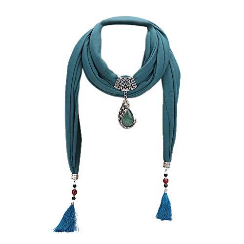 Sayla Schals Tücher Damen Winter Elegant Schal Halsketten Solid Color Schal Perlen Halstuch mit Schmuck Schal mit Schmuck Anhänger Geschenk