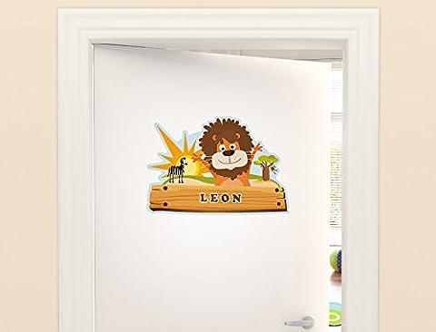"""I-love-Wandtattoo ILWT-20-001 Kinderzimmer """"Türaufkleber Safari"""" mit Name für Jungen"""