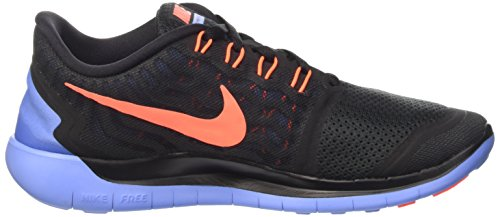 Nike Wmns Free 5.0 - Scarpe sportive Donna Nero (Black/Hyper Orange-Chalk Blue)