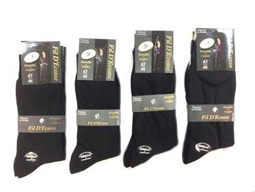 Lot 6 Paires de chaussettes homme en fil d'écosse 100%coton Blanc/Noir/Marron (Noir, 43/46) C010