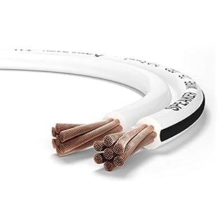 Oehlbach Speaker Wire SP-25 - Stereo HI-FI Lautsprecherkabel - Boxenkabel mit OFC (sauerstofffreies Kupfer) 2x2,5mm² - Mini Spule Lautsprecher Kabel - Weiß - 10m