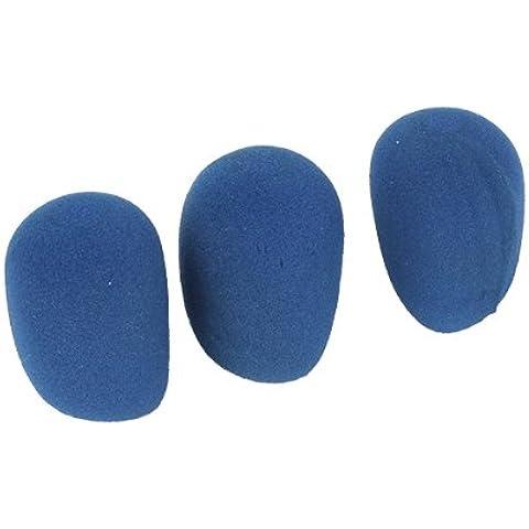 WEONE micrófono parabrisas del viento Escudo de esponja de espuma espesa la cubierta azul (paquete de 3)