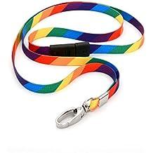 Ckb Ltd® 10x Breakaway Rainbow Striped Premium di sicurezza cordino laccio girevole in metallo clip per carta d' identità Bright Fun Funky novità Cool cordini misti multicolore–antisoffocamento