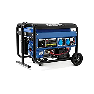 EBERTH 3000 Watt Benzin Stromerzeuger (Fahrgestell, 6,5 PS Benzinmotor, 4-Takt, luftgekühlt, 2x 230 V, 1x 12 V, E-Start, Automatischer Voltregler AVR, Ölmangelsicherung, Voltmeter)