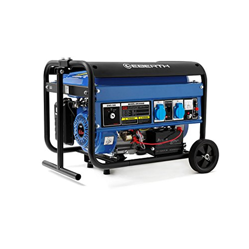 EBERTH 3000 Watt Benzin Stromerzeuger (Fahrgestell, 6,5 PS Benzinmotor, 4-Takt, luftgekühlt, 2 x 230 V, 1 x 12 V, E-Start, Automatischer Voltregler AVR, Ölmangelsicherung, Voltmeter)