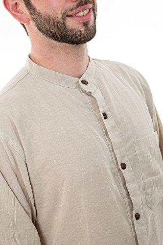- Chemise boutons en coco coton leger chanvre Lee - Blanc / écru
