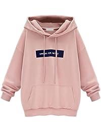 Lannorn Femmes Mode Pulls à Capuche Sweat-Shirt, Automne Hiver De Style Moyen Manche longue Des lettres Encapuchonné Manteau.