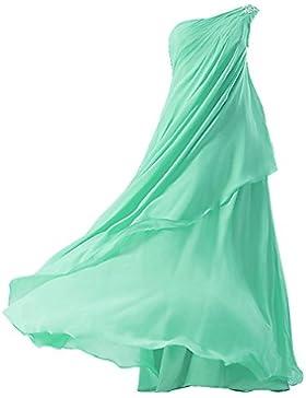 Fashion Plaza Chiffon Mädchen Kleid One Shoulder Blumenmädchenkleid K0084