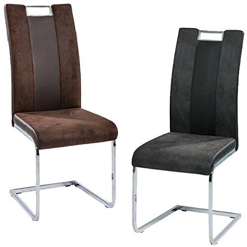 2er Set Stuhl Bari Schwingstuhl Freischwinger Schwinger verchromt
