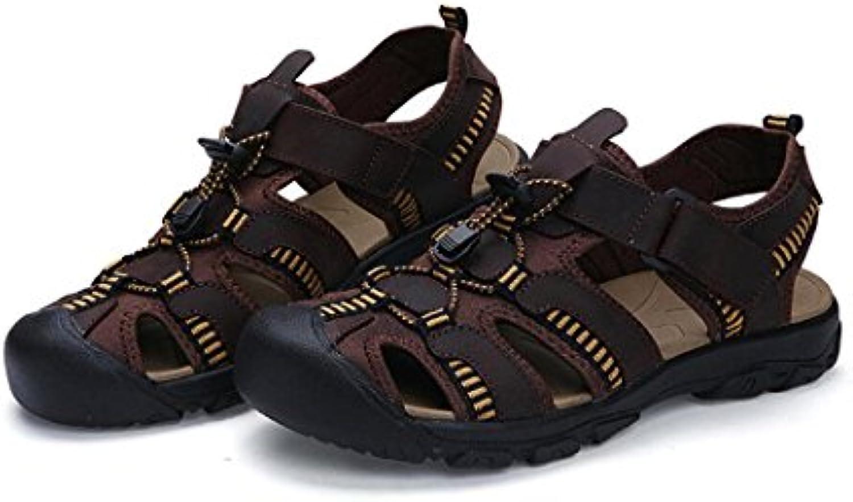 Sandalias Deportivas Hombre Cerrado Deportes de Verano Casual Pescador Cuero Zapatos de Playa Senderismo Al Aire