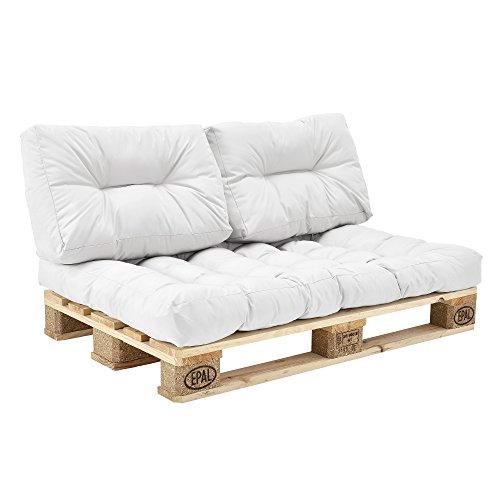 en.casa] Palettenkissen - 3er Set - Sitzpolster + Rückenkissen [weiß] Paletten-Sofa In/Outdoor
