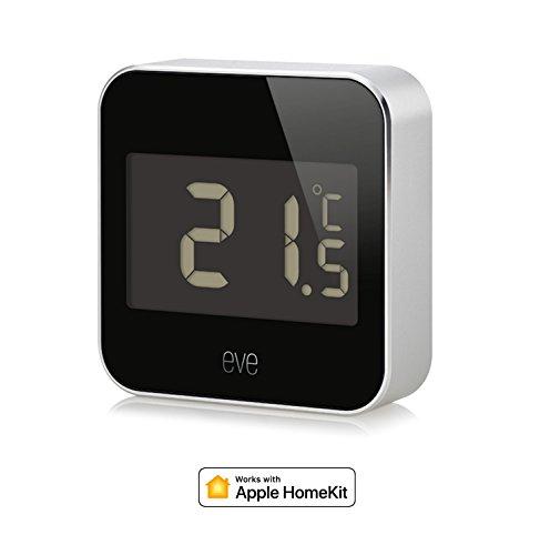 Eve Degree - Vernetzte Wetterstation mit Apple HomeKit-Technologie Zum Überwachen von Temperatur, Luftfeuchtigkeit und Luftdruck; mit LCD-Display, IPX3-Wasserbeständigkeit, Bluetooth Low Energy