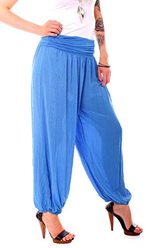 Easy Young Fashion Damen Pluderhose Pünktchen Muster Kobalt