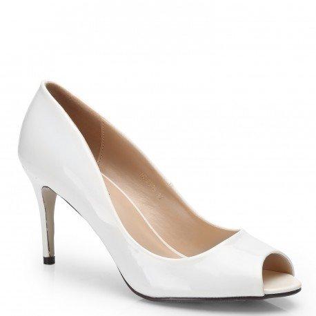 Ideal Shoes - Escarpins à bout ouvert vernis et colorés Jacinta Beige