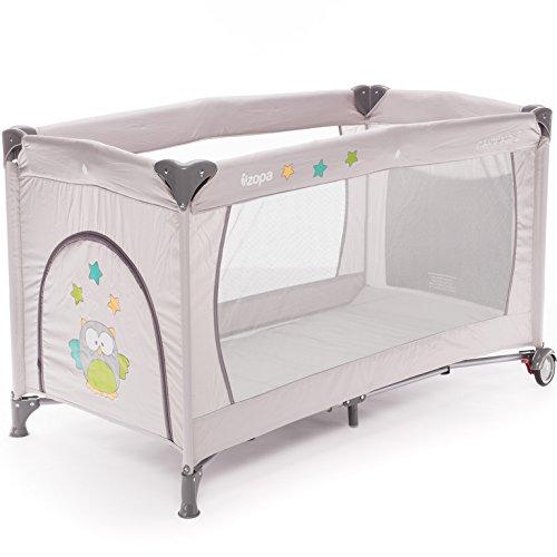 ZOPA Kinderreisebett Camping 2 - klappbarer Kinderreisebett mit Rädern - inkl. Reisebettmatratze - 120 x 60 cm - mit Schlupfloch und praktischer Ablagetasche (Griffin Grey)