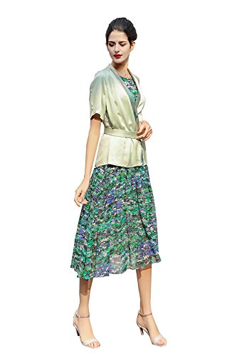 voa-womens-sleeveless-green-silk-midi-two-piece-dress-with-short-cardigan-a7571