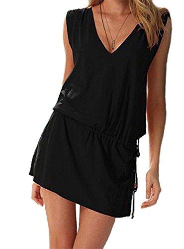 Damen Schwarz Button-down-kleid (ERGEOB Damen tiefem V-Ausschnitt Öffnen Rückseite Strand Bikini Vertuschung Kleid Strand Rock Schwarz)