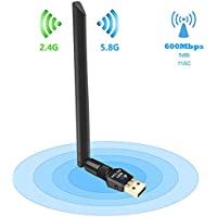 Eonfine USB WiFi Adapter, Wifi Dongle 11AC Dual Band High Gain Wireless USB Wifi Adapter 600Mbps(5.8GHz /2.4GHz ) with 5dBi Antenna or PC / Smart TV / PAD / Notebook/ DVB BOX, Supports Windows XP/Win 7/8/8.1/10/Linux/ Mac Os