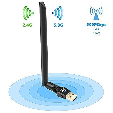 [Nouveau]Eonfine Clé WiFi 600 Mbps 5dBi Antenne Double Bande USB 2.0 WiFi Adaptateur Sans fil pour PC Windows XP/Win 7/8/8.1/10/Linux/Mac OS(Portée de 10 mètres+Modulable à 360 Degrés)