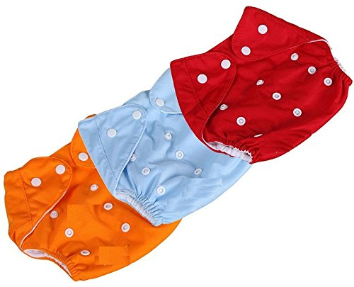 Toyboy New Adjustable Reusable Lot Baby Washable Cloth Diaper Nappies Pack Of 3 ,Multicolor