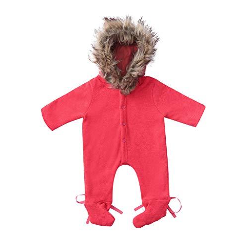 ALISIAM Winter Weihnachten Baby Unisex Mode Freizeit Gemütlich Warm halten Mit Kapuze Lange Ärmel Gestrickter Overall Kriechender Anzug ()