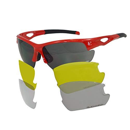 Velochampion tornado occhiali da sole, rosso, con 3 set di lenti intercambiabili e custodia morbida