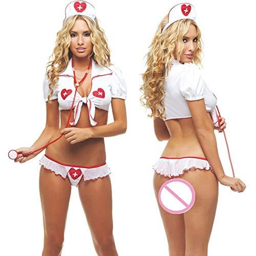 S-XXL Frauen Teddy Cosplay Sexy Dessous Plus Size Babydoll Sexy Krankenschwester Kostüme Porno Erotische Dessous Sexy Uniform Unterwäsche Kleid, XL (Personal Care Krankenschwester Kostüm)