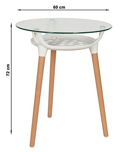 ts ideen design glastisch kaffeetisch ablage rund beistelltisch 8 mm esg glas dreibein holz. Black Bedroom Furniture Sets. Home Design Ideas