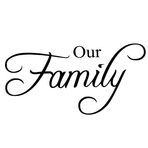 Zerodis Pegatinas Decorativas, Stickers Wall Art Decal Our Family English Quote Pegatina Cita Vinilo Decorativo Pegatina Pared