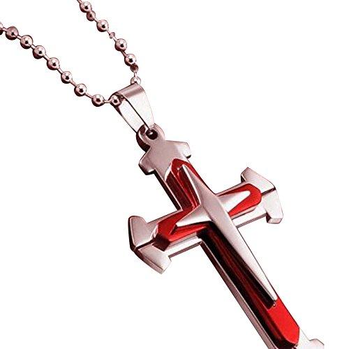 DAY.LIN Kette Schmuck Halskette Herren Unisex Männer Edelstahl Kreuz Anhänger Halskette Kette (Rot) -
