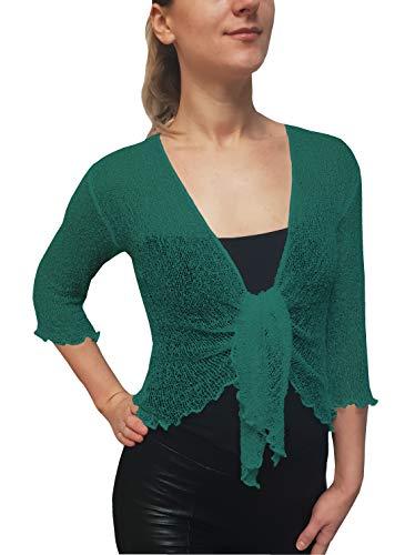 Mimosa Damen Crochet Strecken Fisch-Netz Boleroshrug Mutterschaft Krawatte an der Taille Cardigan (Eine Größe passt DE 34-48, Light Teal) -