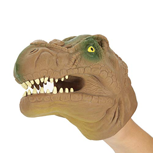 Dinosauro Mano Puppet Gloves, 6 Pollici Tyrannosaurus Rex Gioco di Ruolo Figura Figura Realistico Drago di Gomma Giocattoli per Bambini Jurassic World(Marrone)