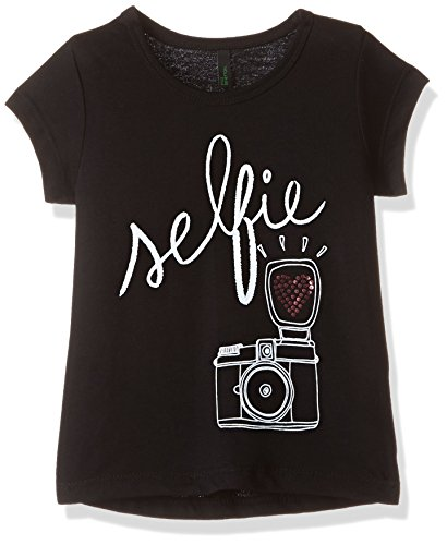 United Colors of Benetton Baby Girls' T-Shirt (16A3094C12SNIK470Y_Black_0Y)
