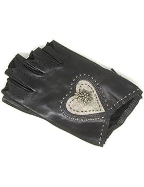 Roeckl fingerlose Trachten Damen Handschuhe braunes Haarschafleder Größe 7,5