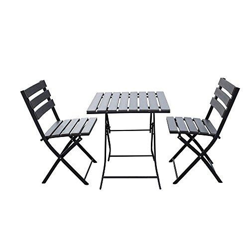 Trueshopping Sölback Gartentisch und -Stuhl-Bistro-Set – 3-teiliges Polywood-Tisch und Aluminium-Rahmen Gartenmöbel-Set in Dunkelgrau
