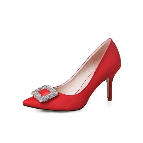 Damen Spitze mit Strass Seide Moderne Anti-Rutsch Gummi Sohle Stiletto Abendkleid Schuhe Mittel-Höhe Schmale Pumps Rot