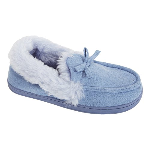 Chaussons mocassins en fausse fourrure - Femme Bleu