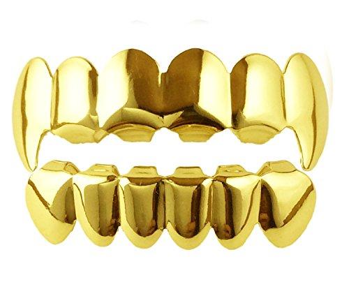 Herren Gold Vergoldet für Oberkiefer & Unterkiefer (kleiner Grill) Grill-Set Zahnschmuck (Vampir Gold Zähne)