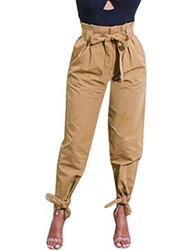 Pantalones Mujer,Pantalones casuales para mujer de cintura alta pantalones ceñidos LMMVP