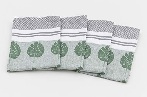 myHomery Geschirrhandtücher mit modernen Motiven im praktischen 4er Set aus 100% Baumwolle Blätter - Grün | 4er-Set - 50 x 70 cm - Baumwolle Blatt