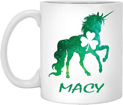 Tea Mug, White, Macy Mug Macy Unicorn Personalized Custom Name 11 Oz White Coffee Cup St Patricks Day Gift