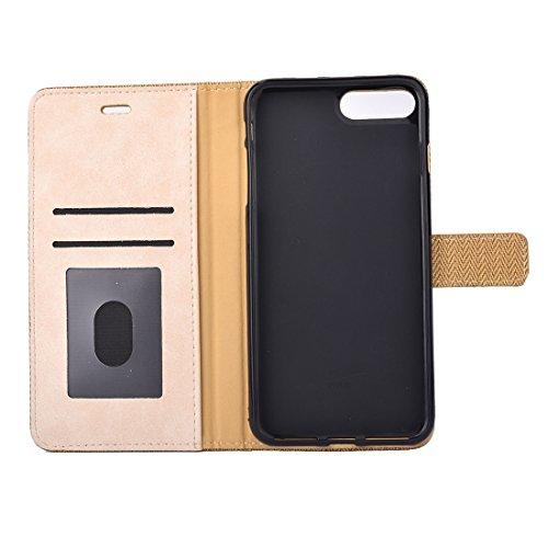 Hülle für iPhone 7 plus , Schutzhülle Für iPhone 7 Plus Business Notebook Style Hit Farbe Horizontale Flip Leder Tasche mit Halter & Card Slots & Wallet & Photo Frame ,hülle für iPhone 7 plus , case f Yellow